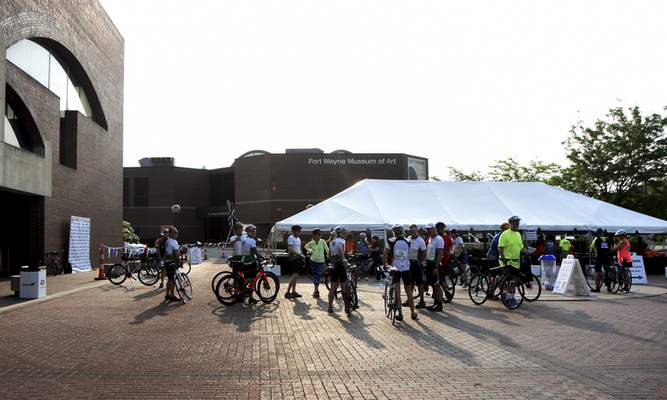 Katie Fyfe   The Journal Gazette Cyclists meet up at the Fort Wayne Art Museum off of Main Street early in the morning to prepare for the 8th Annual Fort4Fitness Spring Cycle in Downtown Fort Wayne on Saturday, June 1st, 2019.