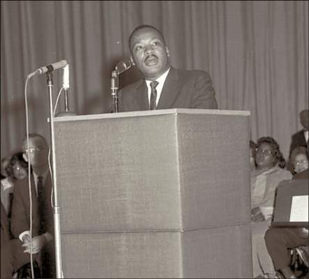 File Martin Luther King Jr. addresses a capacity, multiracial crowd at Fort Wayne's Scottish Rite Auditorium on June 5, 1963. On Wednesday, King's son, Martin III, will use the same podium in an address at the Embassy Theatre.