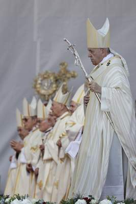 Pope Francis arrives to preside over the celebration of Divine Liturgy and the beatification of seven martyred bishops of the Eastern-rite Romanian Catholic Church, in Blaj, Romania, Sunday, June 2, 2019. (AP Photo/Andrew Medichini)