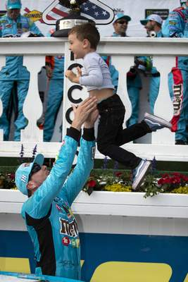 Associated Press Kyle Busch tosses his son, Brexton Busch, 4, into the air in Victory Lane after winning Sunday's NASCAR Cup Series at Pocono Raceway.
