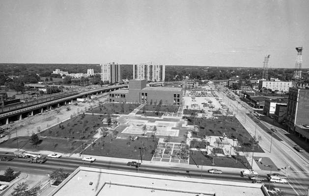 Sept. 7, 1973: A bird's-eye view of Freimann Square, nearly complete. (JG file photo)