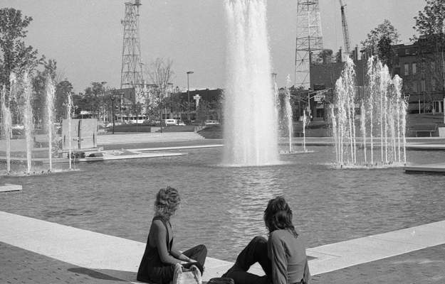Sept. 14, 1973: The four fountains in Freimann Square are given a trial run. (JG file photo)
