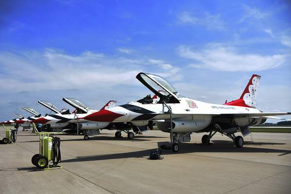 The U.S. Air Force Thunderbirds demonstration squadron arrived Thursday for this weekend's Fort Wayne Air Show at the Air National Guard base.
