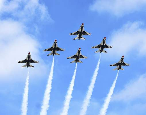 Katie Fyfe | The Journal Gazette  The United States Air Force Thunderbirds fly in Thursday,perform stunts, and land in advance of the weekend's Fort Wayne Air Show at the Air National Guard 122nd Fighter Wing in Fort Wayne.
