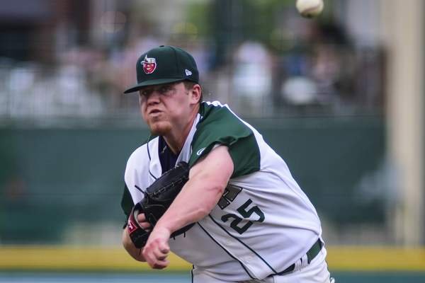 Mike Moore | The Journal Gazette  TinCaps Pitcher Ryan Weathersthrows the ball in the third inning against Great Lakes at Parkview Field on Saturday.