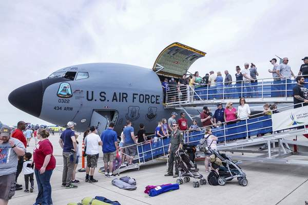 Mike Moore | The Journal Gazette Guests line up to get a close look at the inside of an aerial refueling aircraft during the Fort Wayne Air Show, presented by the 122nd Fighter Wing Air National Guard on Saturday.