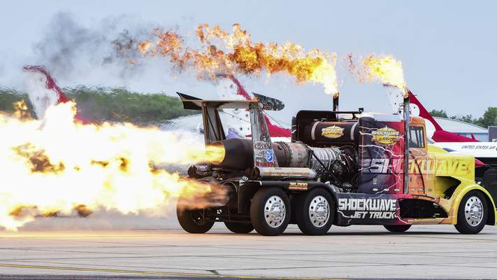 Mike Moore | The Journal Gazette The Shockwave Jet Truck dazzles crowds attending the Fort Wayne Air Show, presented by the 122nd Fighter Wing Air National Guard on Saturday.