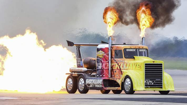 It wasn't all aircraft at the air show, as the Shockwave Jet Truck dazzled crowds. Officials expect 80,000 to attend the two-day show.