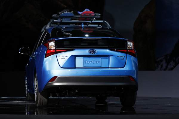 Bloomberg The Toyota Prius All-Wheel Drive hybrid vehicle is displayed during AutoMobility LA ahead of the Los Angeles Auto Show in November 2018. Toyota is hoping the model will help stem the tide of falling Prius sales.