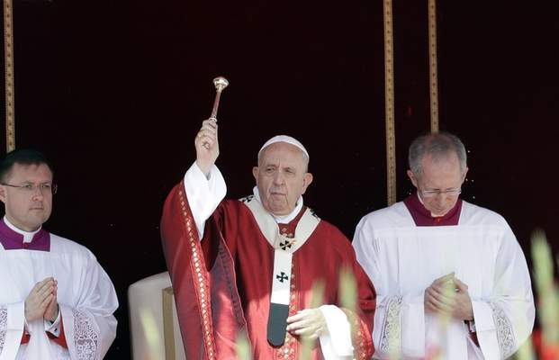 Pope Francis celebrates a Pentecost Mass in St. Peter's Square, at the Vatican, Sunday, June 9, 2019. (AP Photo/Gregorio Borgia)