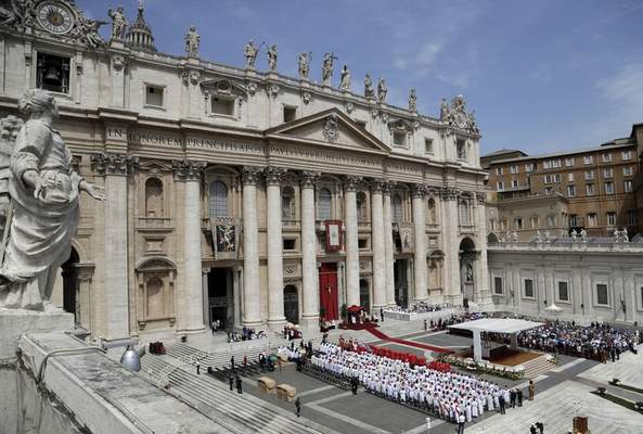 A view of St. Peter's Square during a Pentecost Mass celebrated by Pope Francis, at the Vatican, Sunday, June 9, 2019. (AP Photo/Gregorio Borgia)