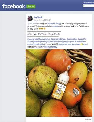 Associated Press The U.S. Food and Drug Administration cited this Facebook post as an example of influencers promoting e-cigarette formulas without including the required nicotine warning statement.
