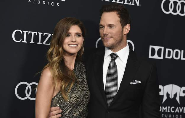 FILE - In this April 22, 2019, file photo, Katherine Schwarzenegger, left, and Chris Pratt arrive at the premiere of