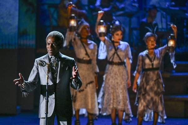 Andre De Shields , left, of the cast of Hadestown perform at the 73rd annual Tony Awards at Radio City Music Hall on Sunday, June 9, 2019, in New York. (Photo by Charles Sykes/Invision/AP)
