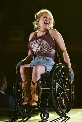 Ali Stroker, of Oklahoma!, performs at the 73rd annual Tony Awards at Radio City Music Hall on Sunday, June 9, 2019, in New York. (Photo by Charles Sykes/Invision/AP)