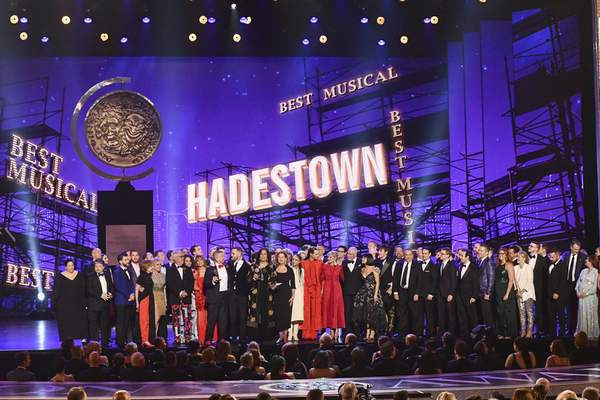 The company of Hadestown, accept the award for best musical at the 73rd annual Tony Awards at Radio City Music Hall on Sunday, June 9, 2019, in New York. (Photo by Charles Sykes/Invision/AP)