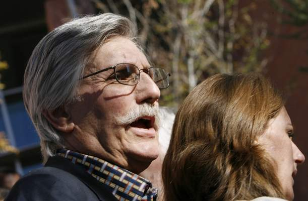 FILE - In this Dec. 5, 2008, file photo, Fred Goldman, father of Ron Goldman, who was murdered in 1994, speaks to reporters after O.J. Simpson's sentencing hearing outside the Clark County Regional Justice Center in Las Vegas. Fred Goldman has relentlessly pursued O.J. Simpson through civil courts, maintaining it is the only way to achieve justice for his son.  (Isaac Brekken/Pool Photo via AP, File)