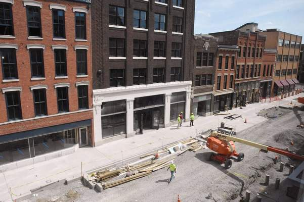 Michelle Davies | The Journal Gazette Work continues on The Landing.