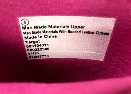 Photo of the label inside Cat & Jack Lilia Rain Boots