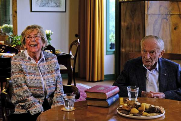 Jacqueline van Maarsen, left, and Albert Gomes de Mesquita, school friends of Anne Frank, talk to students during an event to mark what would have been Anne Frank's 90th birthday, in Amsterdam on Wednesday, June 12, 2019.(AP Photo/Michael C. Corder)