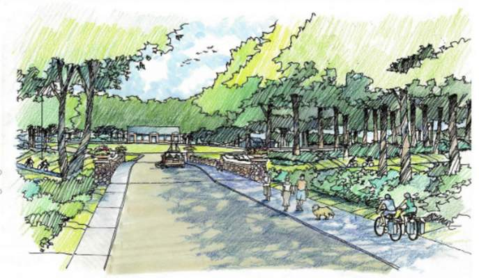 An artist's rendering shows the proposed Goshen Avenue entrance to Franke Park. (Courtesy photos)