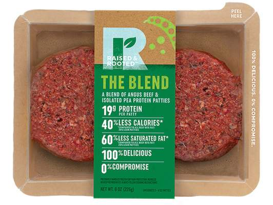 Associated Press Tyson Foods will begin selling its blended burger made from beef and pea protein this fall. Like its pea-protein nuggets set for this summer, it will be sold under a new brand, Raised and Rooted.
