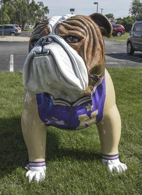 Michelle Davies | The Journal Gazette Letter Jacket Dog was among the bulldogs that were part of the Canal Days Parade and distributed to various locations.