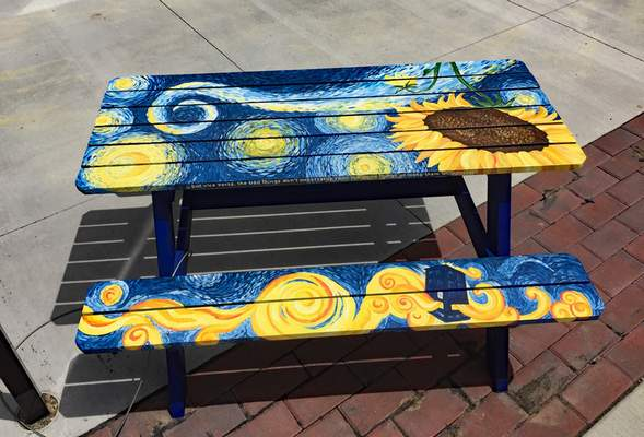 Courtesy Picnic benches were a recent theme for Auburn's Summer Art Exhibit. This year, the project features wheelbarrows.