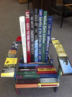 Courtesy This chair from Kendallville's Art on Main exhibit features book titles.