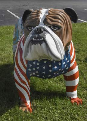 Michelle Davies | The Journal Gazette Military Dog, part of the Bulldog Community Art Project in New Haven. The bulldogs will be part of the Canal Days Parade and then distributed to various locations throughout the city.