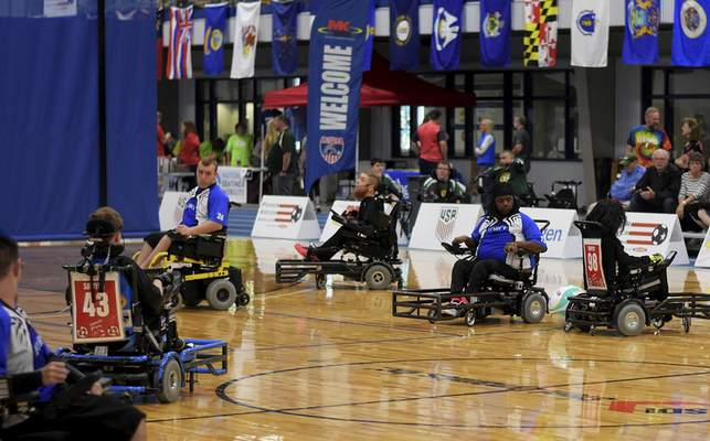 Katie Fyfe | The Journal Gazette  The 2019 Power Soccer Conference Cup Series is held at Turnstone Center for Children and Adults with Disabilities on Saturday.