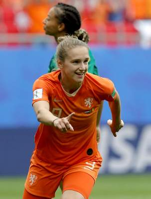 Netherlands' Vivianne Miedema celebrates after scoring her side's 3rd goal during the Women's World Cup Group E soccer match between the Netherlands and Cameroon at the Stade du Hainaut in Valenciennes, France, Saturday, June 15, 2019. The Netherlands defeated Cameroon by 3-1. (AP Photo/Michel Spingler)