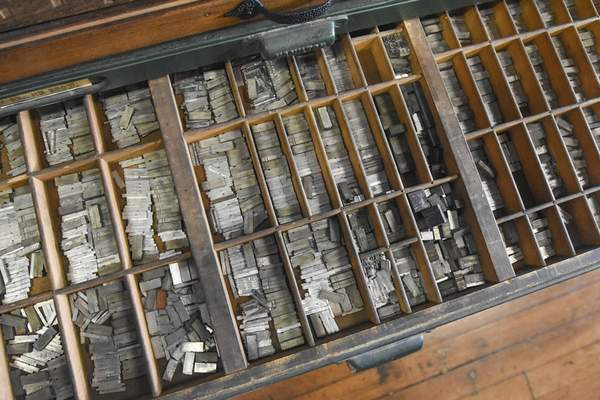 Michelle Davies | The Journal Gazette A drawer of type in The Hedge.