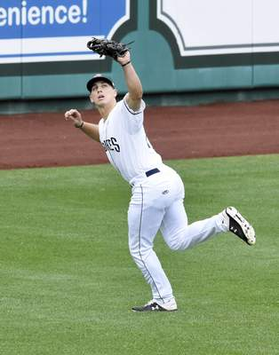 Rachel Von Stroup | The Journal Gazette  TinCaps' Michael Curry catches a pop fly in the outfield during the third inning against the Captains at Parkview Field on Father's Day, Sunday June 16, 2019.
