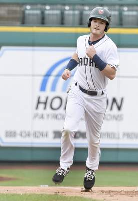 Rachel Von Stroup | The Journal Gazette  TinCaps' Grant Little rounds third base during the first inning against the Captains at Parkview Field on Father's Day, Sunday June 16, 2019.