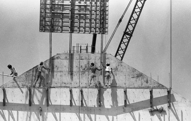 July 6, 1982: Workers examine the progress of the construction of the Foellinger-Freimann Botanical Conservatory. The structure was expected to be enclosed by September and work would continue inside through the winter. (Journal Gazette file)