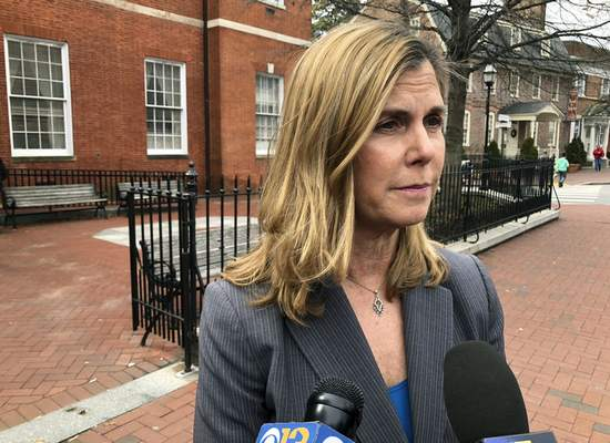 FILE - In this March 11, 2019, file photo, Anne Arundel County State's Attorney Anne Colt Leitess talks to reporters after a court hearing in Annapolis, Md., for Jarrod Ramos, who is charged with killing five people at The Capital Gazette newspaper office in June 2018. (AP Photo/Brian Witte, File)
