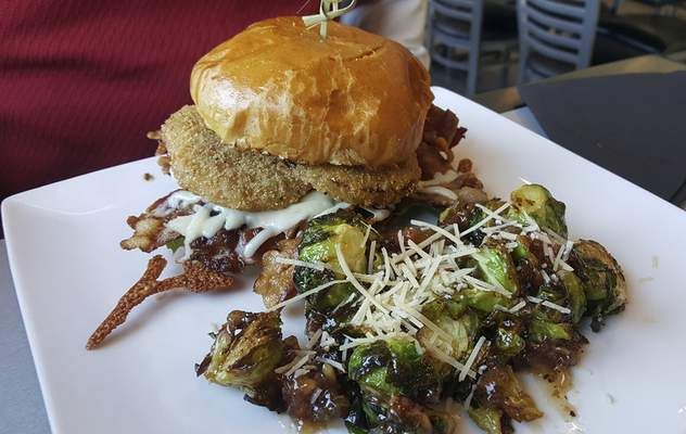 Fried green tomato BLT and Brussels sprouts from The Pub at 1802 on Spy Run.
