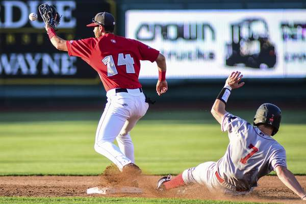 Mike Moore | The Journal Gazette  TinCaps second baseman Justin Lopez catches a throw for an out at second during Fort Wayne's 16-9 loss to the Great Lakes Loons at Parkview Field on Monday. The loss was the TinCaps' fourth in a row.