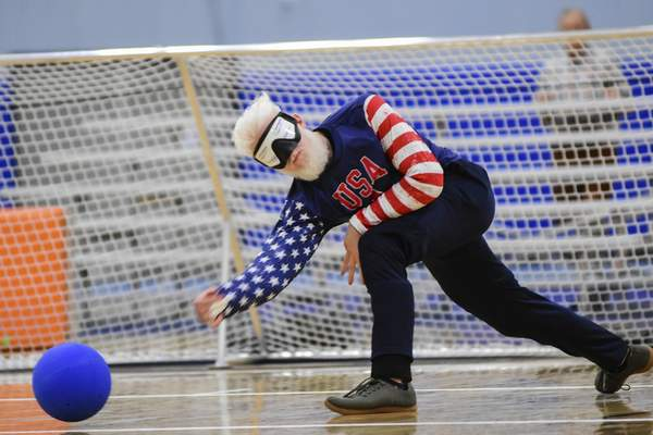 Mike Moore | The Journal Gazette Team USA's Josh Welbornthrows the ball in the second period of Tuesday's IBSA Goalball Qualifier against Ukraine at Turnstone. The US fell 7-4 and plays Finland today.