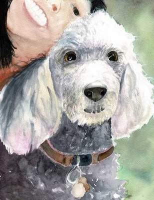 """Selfie with Roxie"" is the name of this watercolor by Madeline Phuong, 14. Her business,  A Second Chance, offers art on notecards and framed and unframed artwork."