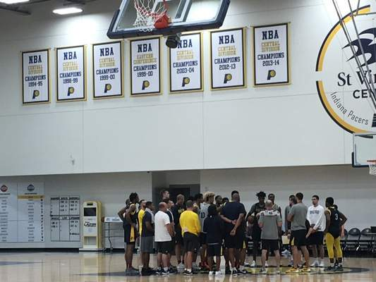The Indiana Pacers Summer League team finishes practice at the St. Vincent Center in Indianapolis on Wednesday. (Dylan Sinn)