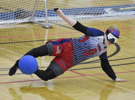 USA's Marybai Huking stops the ball during the team's game against Greece on Saturday at Indiana Tech.