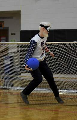 Katie Fyfe   The Journal Gazette Josh Welborn with Team USA throws the ball during the first half against Lithuania during the 2019 IBSA Goalball & Judo International Qualifier at Indiana Tech on Sunday, July 7th, 2019.