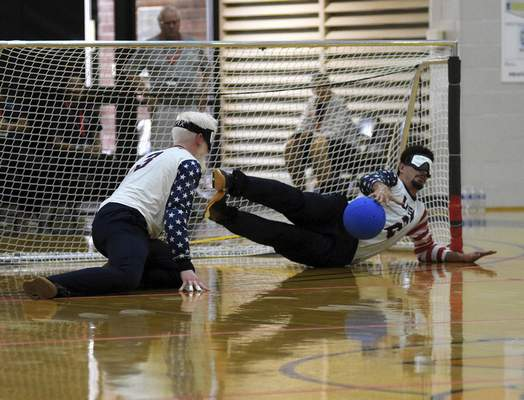 Katie Fyfe   The Journal Gazette  Tyler Merren with team USA defends the goal during the second half against Lithuania during the 2019 IBSA Goalball & Judo International Qualifier at Indiana Tech on Sunday, July 7th, 2019.
