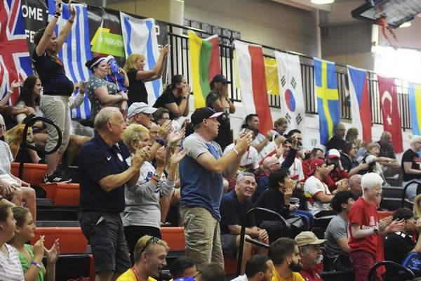 Katie Fyfe   The Journal Gazette  The crowd cheers for Team USA during the second half against Lithuania during the 2019 IBSA Goalball & Judo International Qualifier at Indiana Tech on Sunday, July 7th, 2019.