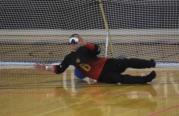 Katie Fyfe   The Journal Gazette Team Lithuania's Mantas Panovas attempts to defend a penalty shot from USA in the second half during the 2019 IBSA Goalball & Judo International Qualifier at Indiana Tech on Sunday, July 7th, 2019.