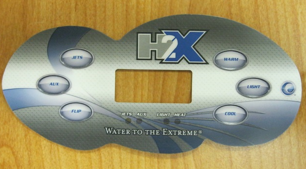 A Master Spas control panel cover showing the brand name 'H2X'.