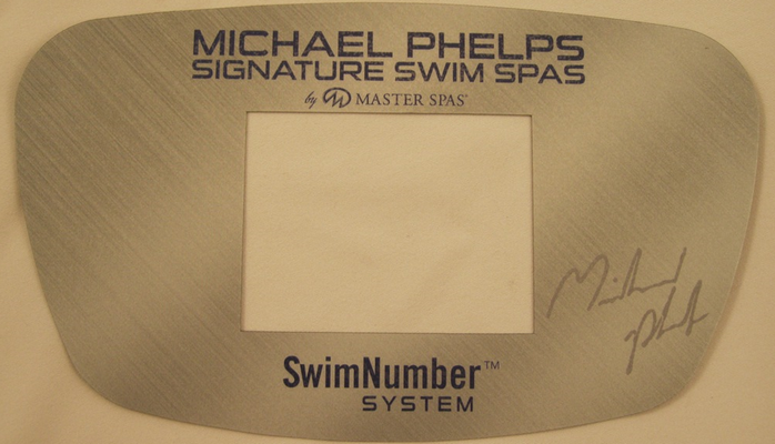 A Master Spas control panel cover showing the brand name 'MP Signature Deep Swim Spas'.