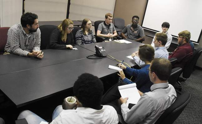 Rachel Von Stroup | The Journal Gazette  City Utilities Interns as well as a Staff Member speak about their jobs during a group interview at Citizens Square on Tuesday July 9, 2019.